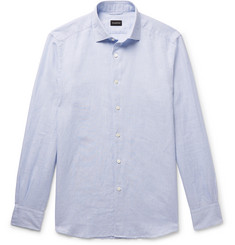 Ermenegildo Zegna Puppytooth Cotton and Linen-Blend Shirt