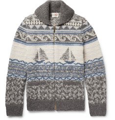 Faherty - Sailboat-Patterned Shawl-Collar Merino Wool and Alpaca-Blend Zip-Up Cardigan