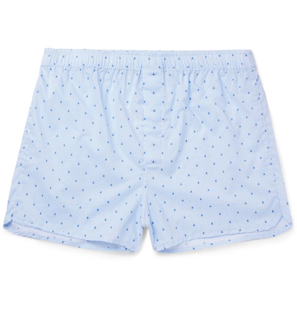 Nelson Printed Cotton Boxer Shorts - Blue