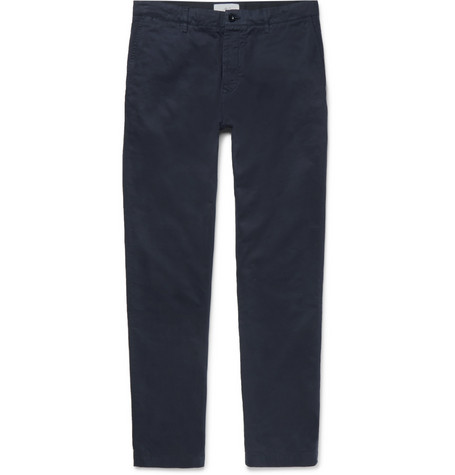 Garment-dyed Stretch-cotton Chinos - Navy