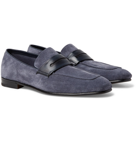 Asola Leather-trimmed Suede Penny Loafers Ermenegildo Zegna