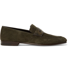 Ermenegildo Zegna Asola Leather-Trimmed Suede Penny Loafers