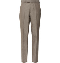 Richard James Mushroom Seishin Slim-Fit Slub Linen and Cotton-Blend Suit Trousers