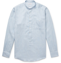 Richard James - Grandad-Collar Striped Textured Cotton and Linen-Blend Henley Shirt