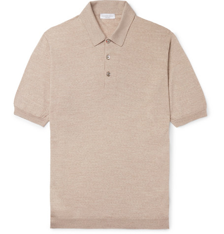 Knitted Merino Wool Polo Shirt - Mushroom