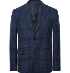 MP Massimo Piombo Navy Slim-Fit Checked Cotton Blazer