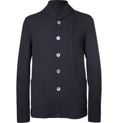 Giorgio Armani Navy Shawl-Collar Textured Cotton-Blend Blazer