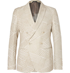 Giorgio Armani Cream Ginza Double-Breasted Jacquard Blazer