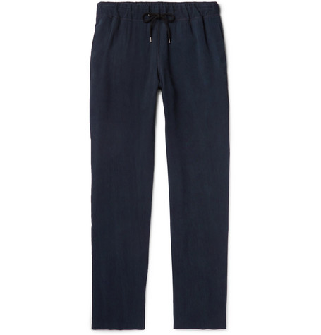 Woven Drawstring Trousers - Navy