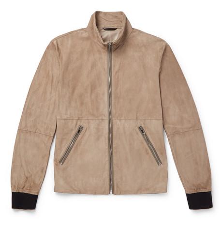 5ca22f66c9c4 Giorgio Armani - Slim-Fit Leather-Trimmed Suede Blouson Jacket