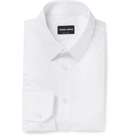 White Slim-fit Stretch Cotton-blend Shirt - White