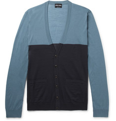 Giorgio Armani Slim-Fit Two-Tone Wool Cardigan