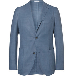 Boglioli Blue Unstructured Wool-Blend Blazer
