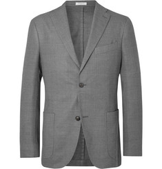 Boglioli Grey Unstructured Virgin Wool-Blend Blazer