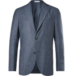 Boglioli Light-Blue and Grey Mélange Silk and Linen-Blend Blazer