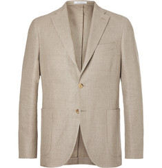 Boglioli Sand Basketweave Linen and Cotton-Blend Blazer