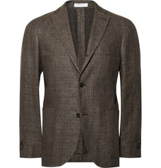 Boglioli Brown Slim-Fit Mélange Wool and Linen-Blend Blazer