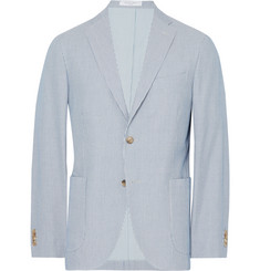 Boglioli Light-Blue Slim-Fit Unstructured Striped Cotton Blazer