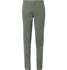 Boglioli - Army-Green Slim-Fit Stretch-Cotton Twill Suit Trousers