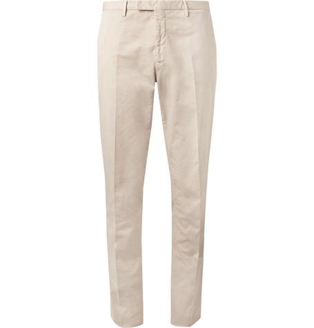Boglioli Sand Stretch Cotton And Linen-blend Suit Trousers
