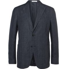 Boglioli Navy Unstructured Prince of Wales Checked Linen Blazer