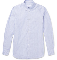 Boglioli Slim-Fit Button-Down Collar Striped Cotton and Linen-Blend Shirt