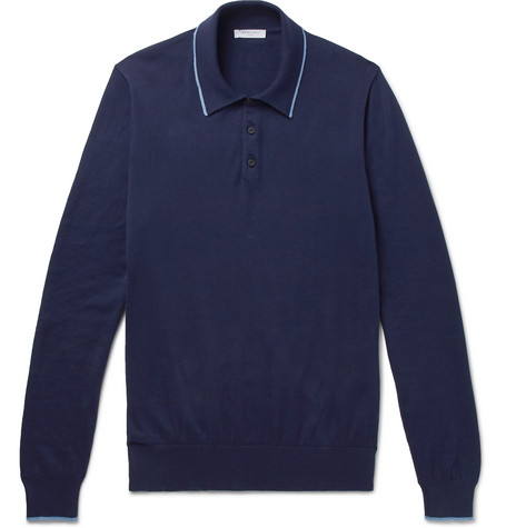 Contrast-tipped Knitted Cotton Polo Shirt - Blue