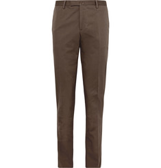 Boglioli Brown Slim-Fit Stretch-Cotton Twill Suit Trousers