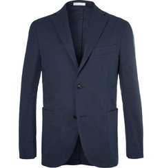 Boglioli Navy Stretch-Cotton Twill Suit Jacket