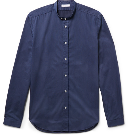 Slim-fit Grandad-collar Striped Cotton Shirt - Navy