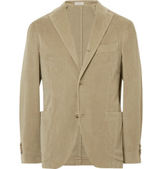 Boglioli Beige Slim-Fit Stretch-Cotton Corduroy Suit Jacket