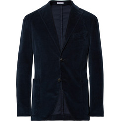 Boglioli Storm-Blue Slim-Fit Stretch-Cotton Corduroy Suit Jacket