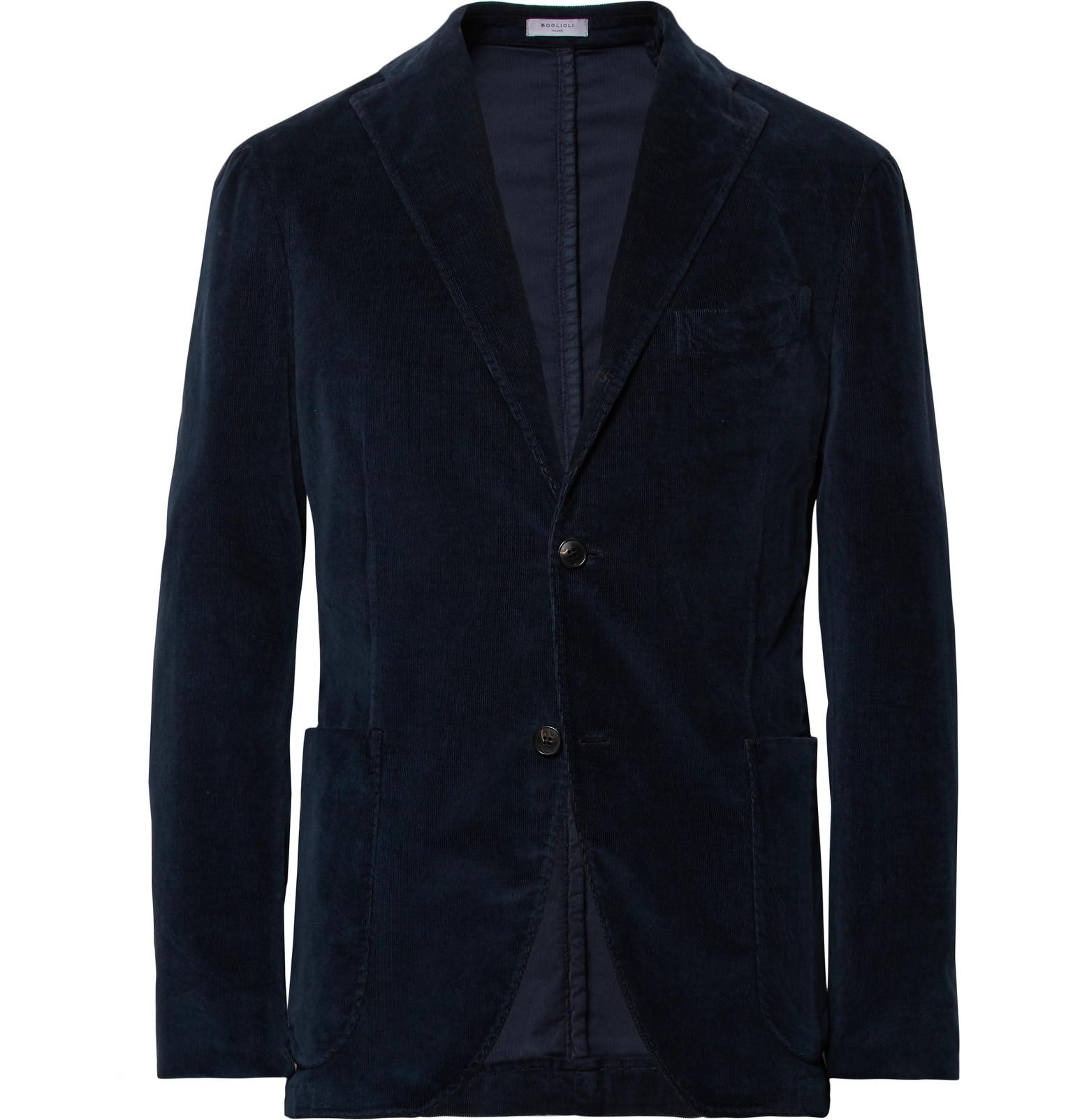Storm-blue Slim-fit Stretch-cotton Corduroy Suit Trousers Boglioli TULPFWScJ