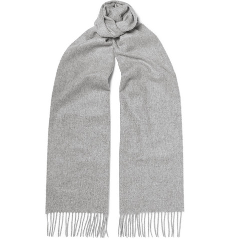 Fringed Cashmere Scarf Gray