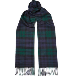 Johnstons of Elgin Black Watch Checked Cashmere Scarf