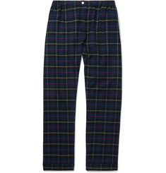 Sleepy Jones - Marcel Piped Checked Cotton-Flannel Pyjama Trousers