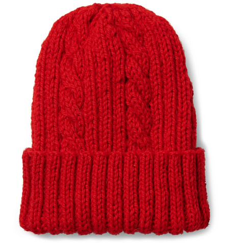 Cable Knit Virgin Wool Beanie - Red