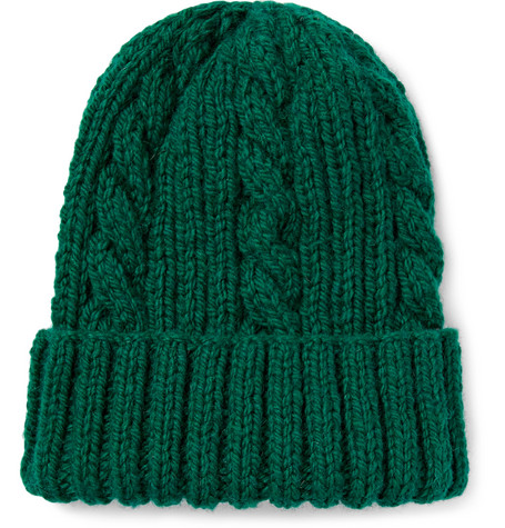 Cable-knit Wool Beanie - Green