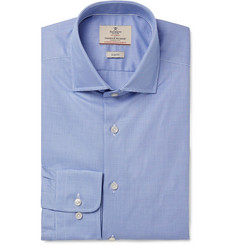 Hackett Blue Mayfair Slim-Fit Puppytooth Cotton-Poplin Shirt