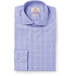 Hackett Blue Mayfair Slim-Fit Prince of Wales Checked Cotton-Poplin Shirt
