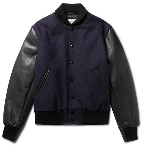 Virgin Wool-blend And Leather Bomber Jacket - Navy