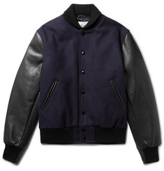 Golden Bear Virgin Wool-Blend and Leather Bomber Jacket