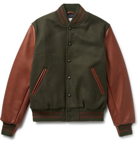 Golden Bear Virgin Wool-blend And Leather Bomber Jacket In Dark Green