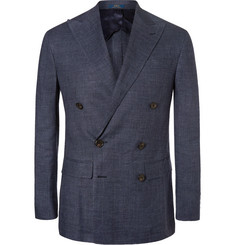 Polo Ralph Lauren Morgan Double-Breasted Checked Linen Blazer