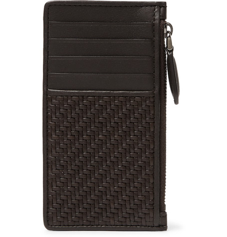 ermenegildo zegna male pelle tessuta leather zipped cardholder