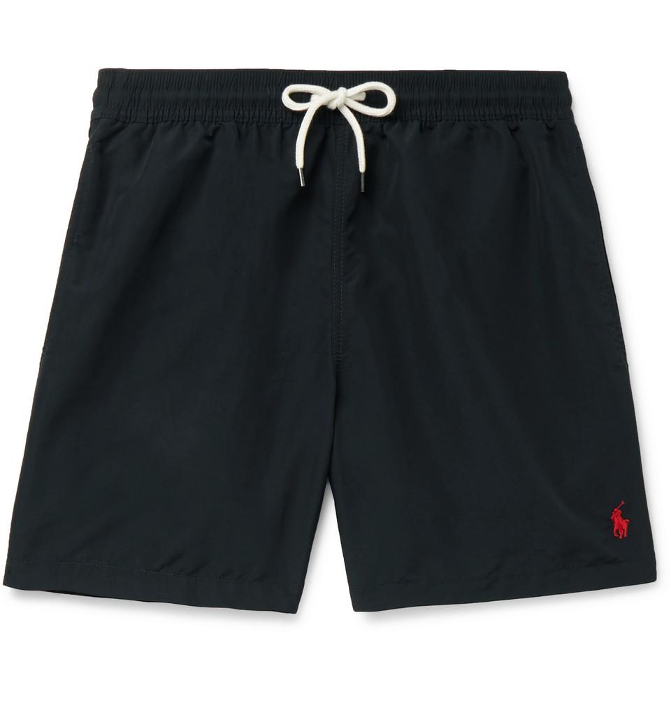 Hawaiian Mid-length Swim Shorts - Black