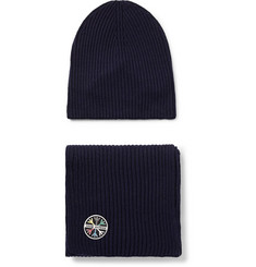 Aztech Mountain Ribbed Wool-Blend Beanie and Scarf Set