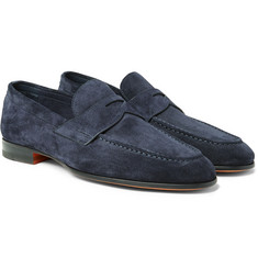Santoni - Burnished-Suede Penny Loafers