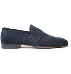 Santoni Burnished-Suede Penny Loafers