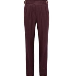 Rubinacci - Manny Tapered Pleated Wool-Flannel Trousers
